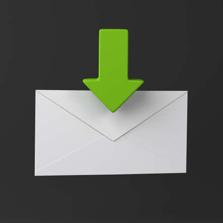 Envelope and green arrow icon on black  Stock Photo - 18344117
