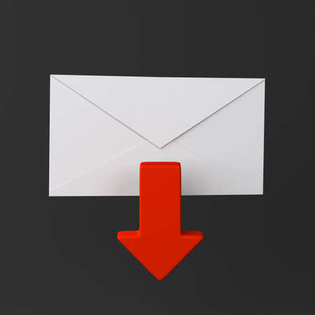 Envelope and red arrow icon on black