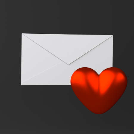 Envelope and heart icon on black Stock Photo - 18344108