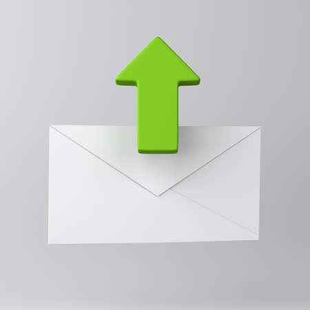 Umschlag und grünen Pfeil Standard-Bild - 18344109