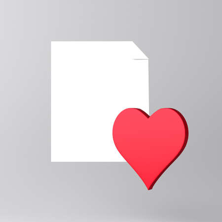 Paper and heart icon photo