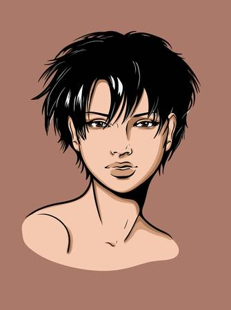 Face of a dark haired girl with short hair Vector
