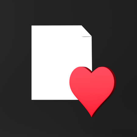 Paper and heart icon on black