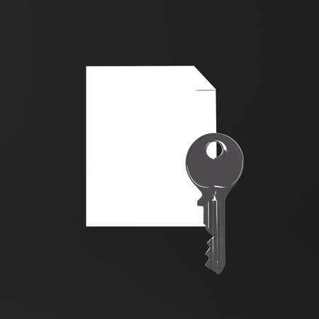 Sheet of paper and a key icon on black Stock Photo