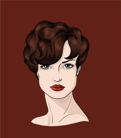 pelo ondulado: Cara de un cabello ondulado brunettewith corta Vectores