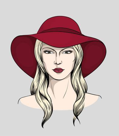 Face of blonde woman with hat