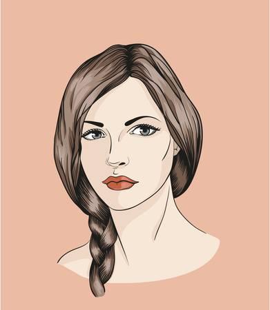 femme dessin: Visage de fille avec tresse Illustration