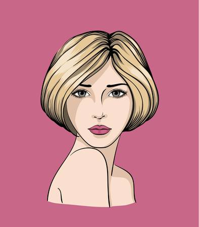 Face of light haired girl with short haircut Stock Vector - 19230099