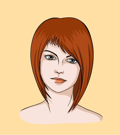 brown haired: Face of brown haired girl with modern hairstyle