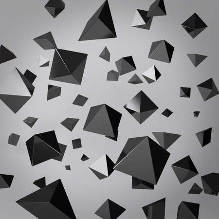 Abstract gray background made of black prisms