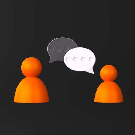 Conversation between people icon on black
