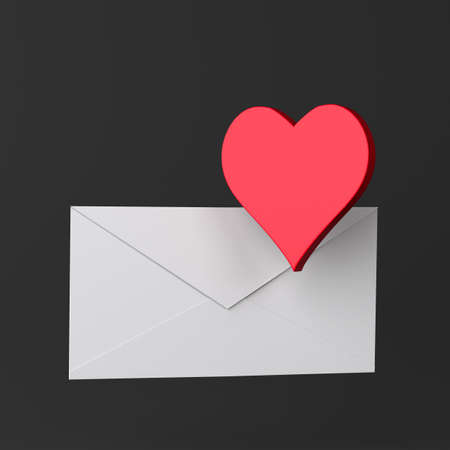 Envelope and heart icon on black Stock Photo