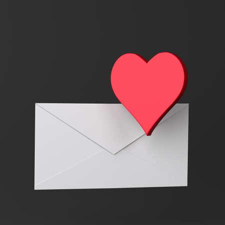 Envelope and heart icon on black Standard-Bild