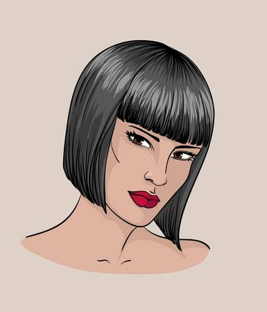 Face of a brunettewith short hair Illustration
