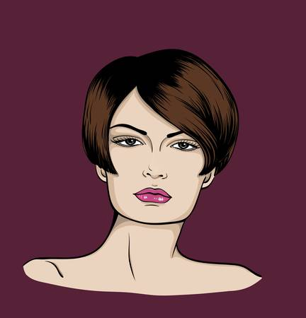 brown haired girl:  Face of woman�with short hair Illustration