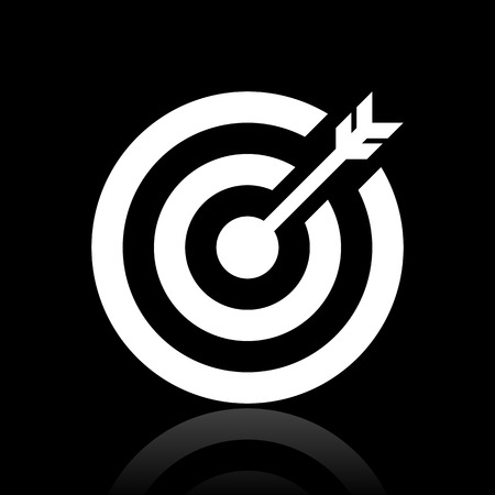 Vector illustration includes a single, white, Target icon on a black background. Vector
