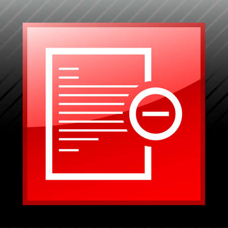 Vector illustration includes a white, Document icon on a red, glossy, square shape, color button on a black background. Vector