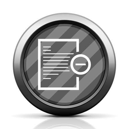 Vector illustration includes a white, Document icon on a grayscale, circle shape, color button on a white background. Vector
