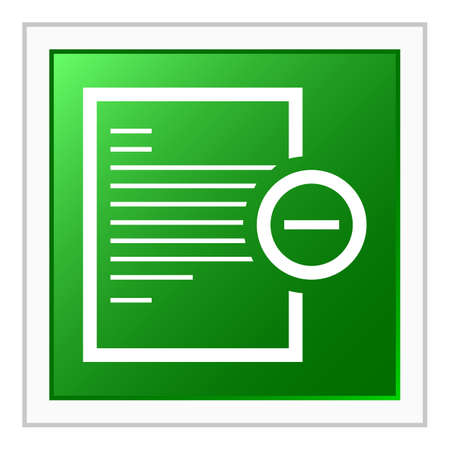Vector illustration includes a white, Document icon on a green, square shape, color button on a white background. Vector