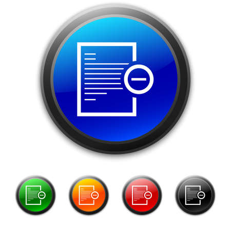 Vector illustration includes a white, Document icon on blue, green, orange, red, and black shiny, circle shape, color buttons on a white background. Vector