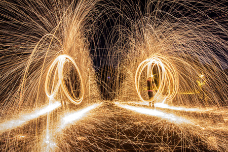 Steel wool photograph at night, long exposure photography workshop