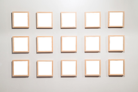 Empty Frames on the wall in modern art museum Gallery Exhibit Blank White Isolated Clipping Path