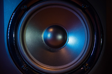 Close up of professional loudspeaker at music studio. Dance, disco, entertainment