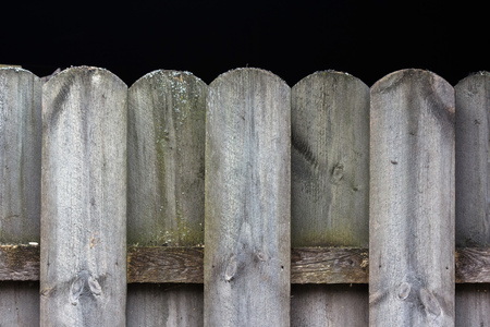 Detail of wooden fence tops pattern with black background and space for text Stock Photo