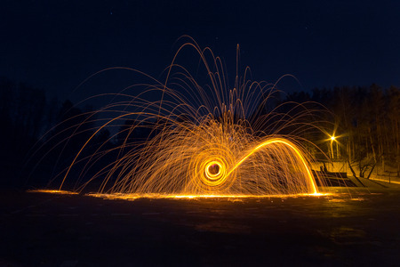 Steel wool long exposure photograph at night, photography workshop