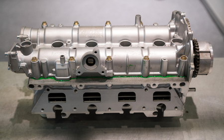 The powerful engine of a car. Internal design of engine. Car engine part. Modern powerful car engine. Stok Fotoğraf