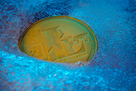 Golden Litecoin coin, lite coin online digital currency frozen in the blue ice. Concept of block chain, market crash. Frozen crypto money, depreciation Standard-Bild - 124898257