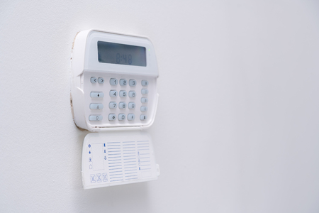 Alarm system of an apartment, house of business office. Surveillance and protection console 版權商用圖片