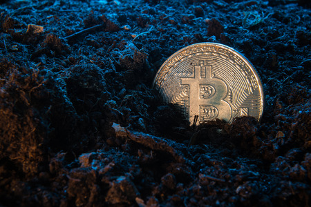 Mining crypto currency - Bitcoin. Online money coin in the dirt ground. Digital currency, block chain market, online business
