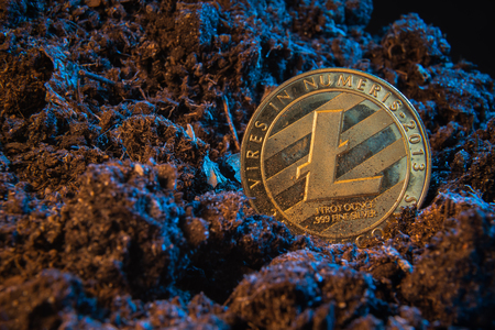 Mining crypto currency - Litecoin. Online money coin in the dirt ground. Digital currency, block chain market, online business Stock Photo