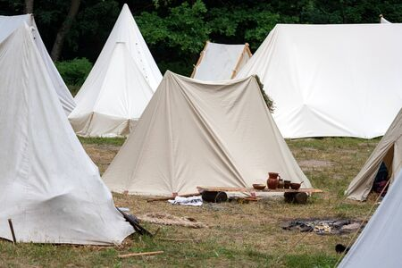 Medieval military tent camp site. Middle ages camp site shows how tribes used to live in the past