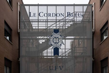 MADRID, SPAIN - December, 2019: Le Cordon Bleu is one of the best cuisine and culinary school. It's part of Universidad Francisco de Vitoria, where the best chefs from all over the world come to study