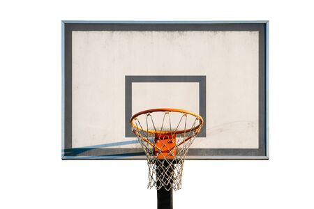Street basketball hoop, net and board isolated on white background. Urban youth game Reklamní fotografie