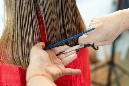 Close up of hairdresser hands cutting brown hair at home. Professional stylist trimming hair split ends.