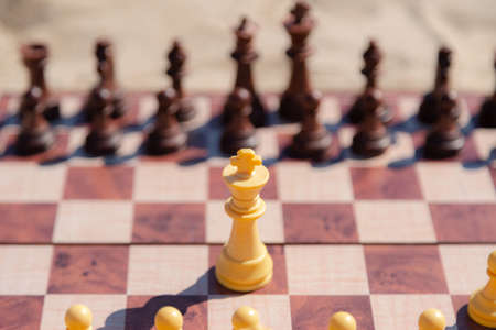 Chess play on the board at the beach. Chessboard on the sand on a sunny day. 스톡 콘텐츠