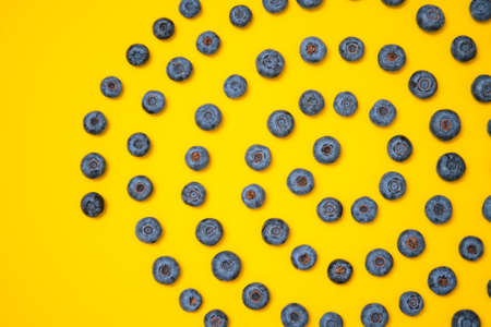 Blueberry pattern on yellow background. Ripe blueberries texture close up.