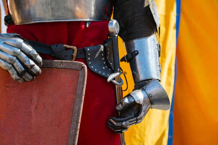Close up of middle ages armor of the knight. Historic armoring used in combat battles. Banco de Imagens