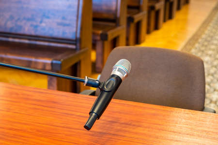 Closeup of microphone in the courthouse. Stock fotó