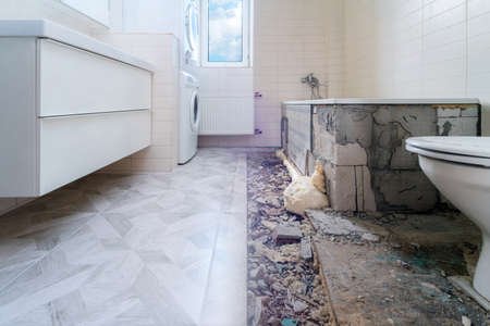 Bathroom renovation before and after. Laying new stone tiles in modern math room. Comparison view of floor reconstruction Banco de Imagens
