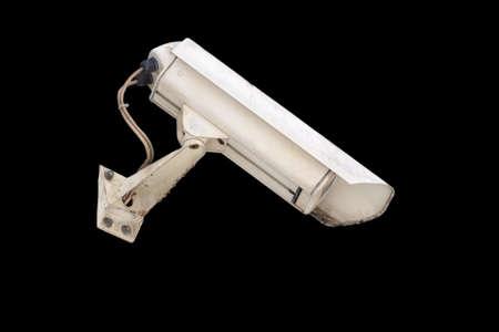 Security camera isolated on black background. Surveillance CCTV camera. Nobody