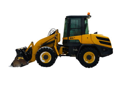 Heavy duty yellow earth mover isolated on white background. Industrial excavator used in construction.