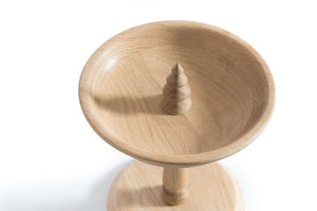 Christmas tree themed wooden tray stand for pastry isolated on white background