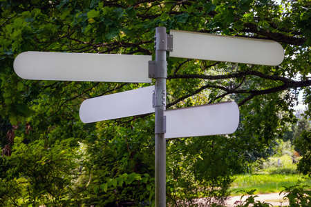 Empty direction sign in a public park. Blank arrow pole pointing the way outside on a sunny day.