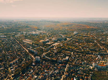 Photo from above of nice city during autumn time 写真素材