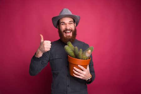 Photo of smiling bearded man holding big cactus plant