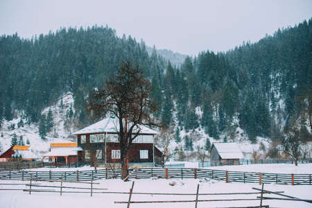 Winter landscape in mountains during snow with old wood house